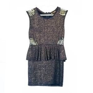Black Gold Peplum Bodycon Mini Dress | Size S